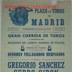 Carteles Toros: CARTEL PLAZA DE TOROS DE MADRID 18 JUNIO 1958. Lote 14438470