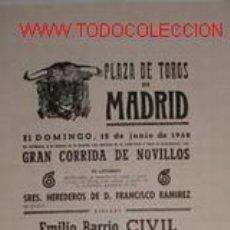 Carteles Toros: CARTEL PLAZA DE TOROS DE MADRID 12 JUNIO 1960. Lote 13032644