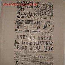 Carteles Toros: CARTEL PLAZA DE TOROS VISTA-ALEGRE, 28 ABRIL 1957. Lote 15528512