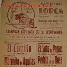 Carteles Toros: CARTEL PLAZA DE TOROS DE LORCA, 10 MAYO 1970. Lote 20349900
