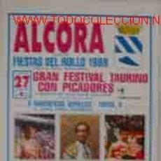 Carteles Toros: CARTEL PLAZA DE TOROS DE ALCORA: GRAN FESTIVAL TAURINO CON PICADORES, 27 MARZO 1989. Lote 9228888