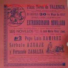 Carteles Toros: CARTEL PLAZA DE TOROS DE VALENCIA, 30 MAYO 1957. Lote 22062298