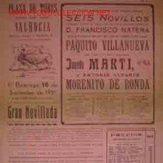 Carteles Toros: CARTEL PLAZA DE TOROS DE VALENCIA, 16 SEPTIEMBRE 1951. Lote 22217150