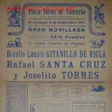 Carteles Toros: CARTEL PLAZA DE TOROS DE VALENCIA, 2 SEPTIEMBRE DE 1951. Lote 13032649