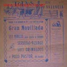 Carteles Toros: CARTEL PLAZA DE TOROS DE VALENCIA, 15 SEPTIEMBRE 1957. Lote 22217153