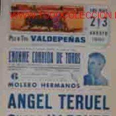Cartazes Touros: CARTEL PLAZA DE TOROS DE VALDEPEÑAS, 2, 3 AGOSTO 1980. Lote 21740899