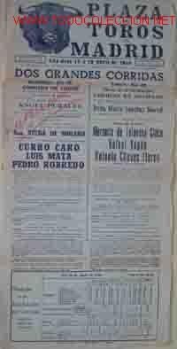 CARTEL PLAZA DE TOROS DE MADRID: 16 Y 19 DE ABRIL DE 1948 (Coleccionismo - Carteles Gran Formato - Carteles Toros)