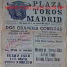 Carteles Toros: CARTEL PLAZA DE TOROS DE MADRID: 16 Y 19 DE ABRIL DE 1948. Lote 30509848