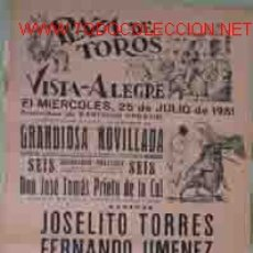 Carteles Toros: CARTEL PLAZA DE TOROS DE VISTA - ALEGRE, 25 DE JULIO 1951. Lote 8444946