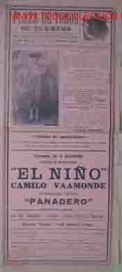 CARTEL PLAZA DE TOROS DE TURMERO, 2, 3, 4 Y 5 DE FEBRERO DE 1915 (Coleccionismo - Carteles Gran Formato - Carteles Toros)