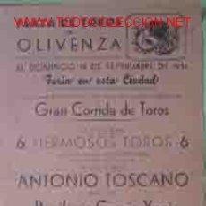 Carteles Toros: CARTEL PLAZA DE TOROS OLIVENZA, 16 SEPTIEMBRE DE 1951. Lote 27444479