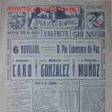 Carteles Toros: CARTEL PLAZA DE TOROS DE VALENCIA 22 JUNIO 1947. Lote 22619758