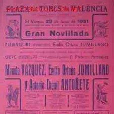 Carteles Toros: CARTEL PLAZA DE TOROS DE VALENCIA 29 JUNIO 1951. Lote 22619759