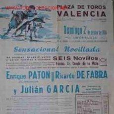 Carteles Toros: CARTEL PLAZA DE TOROS DE VALENCIA, 2 OCTUBRE 1966. Lote 21807834