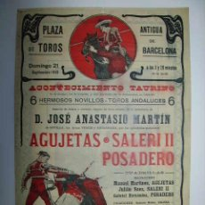 Carteles Toros: CARTEL DE TOROS. PLAZA DE TOROS ANTIGUA DE BARCELONA. 21 DE SEPTIEMBRE DE 1913. Lote 27555867