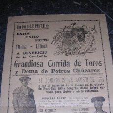Carteles Toros: CARTEL GRANDIOSA CORRIDA DE TOROS Y DOMA DE POTROS CHUCAROS 1934. Lote 13468220