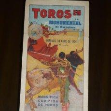 Carteles Toros: TOROS BARCELONA AÑO 1931 TAMAÑO 430X280 DIBUJA RUANO LLOPIS. Lote 5560673
