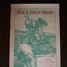 Carteles Toros: TOROS VALENCIA AÑO 1903 TAMAÑO 340X220. Lote 5560796