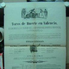 Carteles Toros: PRECIOSO CARTEL DE TOROS DE MUERTE EN VALENCIA, AÑO 1875. Lote 26558291