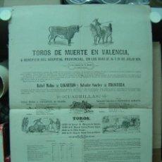 Carteles Toros: PRECIOSO CARTEL DE TOROS DE MUERTE EN VALENCIA, AÑO 1878. Lote 26606294