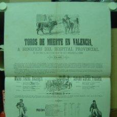 Carteles Toros: PRECIOSO CARTEL DE TOROS DE MUERTE EN VALENCIA, AÑO 1872. Lote 26558295