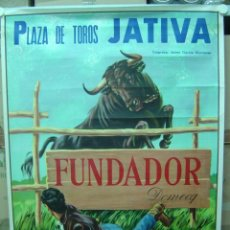 Carteles Toros: PLAZA DE TOROS DE JATIVA (VALENCIA) - PUBLICIDAD DE FUNDADOR DOMECQ - AÑO 1967. Lote 115815819