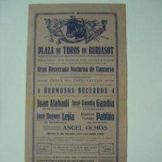 Affiches Tauromachie: CARTEL TOROS - BURJASOT (VALENCIA) - AÑO 1928. Lote 26764517
