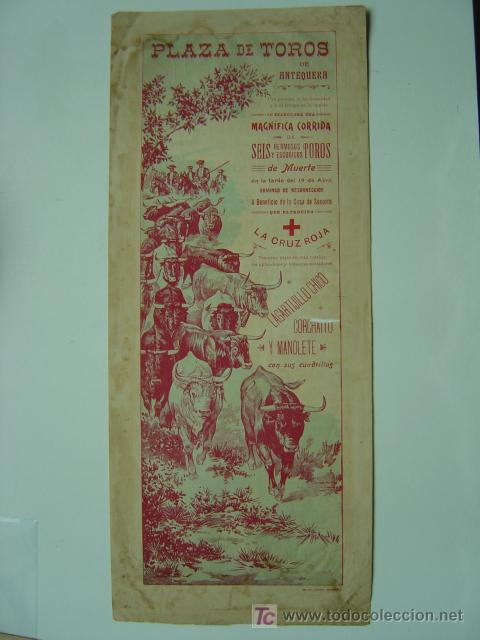 CARTEL TOROS - ANTEQUERA (MALAGA) - AÑOS 1900 (Coleccionismo - Carteles Gran Formato - Carteles Toros)