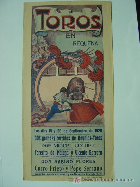 CARTEL TOROS - REQUENA (VALENCIA) - AÑO 1926 (Coleccionismo - Carteles Gran Formato - Carteles Toros)