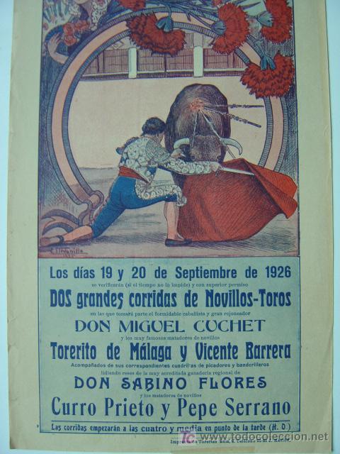Carteles Toros: CARTEL TOROS - REQUENA (VALENCIA) - AÑO 1926 - Foto 3 - 26695930