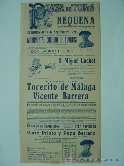 Carteles Toros: CARTEL TOROS - REQUENA (VALENCIA) - AÑO 1926 - Foto 4 - 26695930
