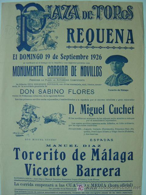 Carteles Toros: CARTEL TOROS - REQUENA (VALENCIA) - AÑO 1926 - Foto 5 - 26695930