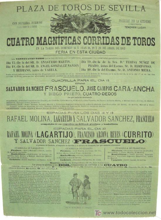 CARTEL TOROS SEVILLA , ABRIL 1883 , CARTEL DE LA FERIA . (Coleccionismo - Carteles Gran Formato - Carteles Toros)