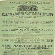 Carteles Toros: CARTEL TOROS SEVILLA , ABRIL 1883 , CARTEL DE LA FERIA .. Lote 24134698