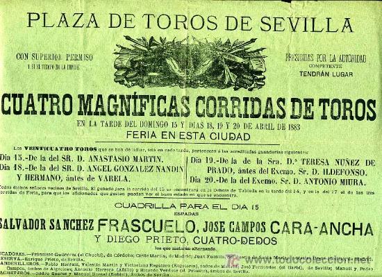 Carteles Toros: CARTEL TOROS SEVILLA , ABRIL 1883 , CARTEL DE LA FERIA . - Foto 2 - 24134698