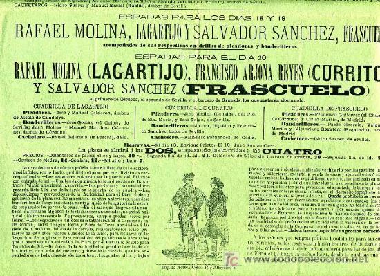 Carteles Toros: CARTEL TOROS SEVILLA , ABRIL 1883 , CARTEL DE LA FERIA . - Foto 3 - 24134698