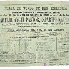 Carteles Toros: CARTEL TOROS SAN SEBASTIAN AGOSTO 1890 , 4+1 CORRIDAS ,. Lote 24314285