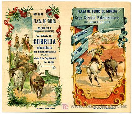 CARTEL DE TOROS MURCIA , FERIAS Y FIESTAS 1905 , BENEFICENCIA ,CROMO LITOGRAFIA (Coleccionismo - Carteles Gran Formato - Carteles Toros)