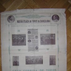 Affissi Tauromachia: GRAN CARTEL DE TOROS DE BARCELONA 1909(ALTERNATIVA DE LOS TOREROS MEJICANOS ,LONBARDINI Y PEDRO LOPE. Lote 12517554