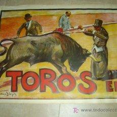 Carteles Toros: CARTEL TOROS - CABECERA - LLAPISERA COMICOS - RUANO LLOPIS - AÑOS 1940. Lote 176251409