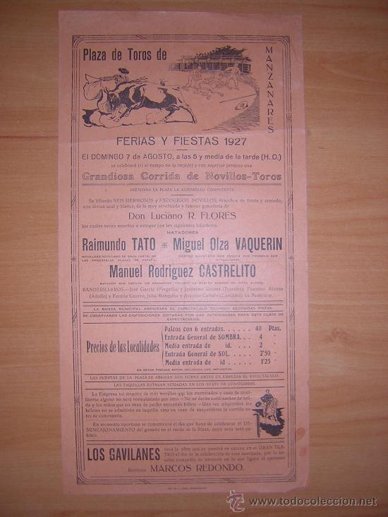 CARTEL DE TOROS DE MANZANARES 7 DE AGOSTO DE 1927 (Coleccionismo - Carteles Gran Formato - Carteles Toros)