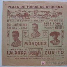 Carteles Toros: CARTEL PEQUEÑO - TOROS EN REQUENA (VALENCIA) - 25 DE SEPTIEMBRE DE 1925. Lote 13027794