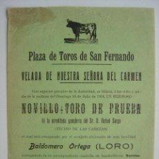 Carteles Toros: CARTEL PEQUEÑO - TOROS EN SAN FERNANDO (CADIZ) - 14 DE JULIO DE 1912. Lote 16468856