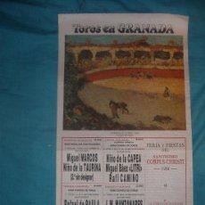 Carteles Toros: CARTEL DE SEDA. PLAZA DE TOROS DE GRANADA. 1988.. Lote 19585297