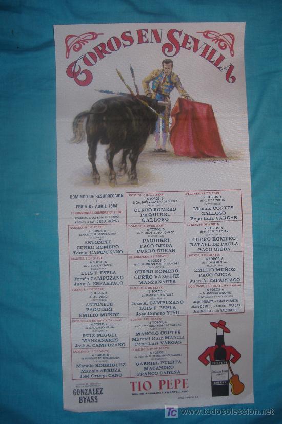 CARTEL DE SEDA. PLAZA DE TOROS DE SEVILLA. FERIA DE ABRIL - 1984. (Coleccionismo - Carteles Gran Formato - Carteles Toros)