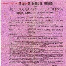 Carteles Toros: CARTEL TOROS MADRID 1877 CT41. Lote 23700875