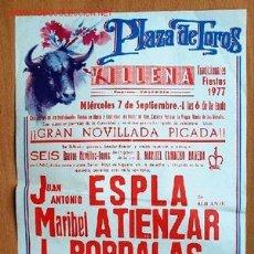 Carteles Toros: CARTEL CORRIDA EN LA PLAZA DE TOROS DE VILLENA. 7 SEPTIEMBRE 1977 - 20 X 31 CM.. Lote 19089441