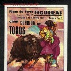 Carteles Toros: PEQUEÑO CARTEL DE TOROS DE FIGUERES (GIRONA) DE 1968. Lote 195164497