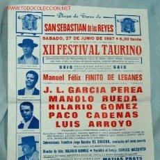 Carteles Toros: CARTEL TOROS SAN SEBASTIAN DE LOS REYES. Lote 12959260
