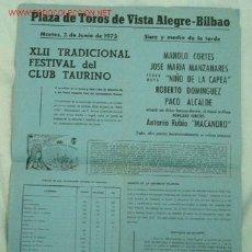 Cartazes Touros: CARTEL TOROS BILBAO. Lote 1871107
